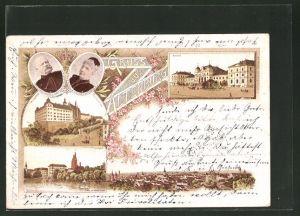 Lithographie Altenburg, Bahnhof, Herzogl. Residenzschloss, Herzog Ernst von Sachsen-Altenburg