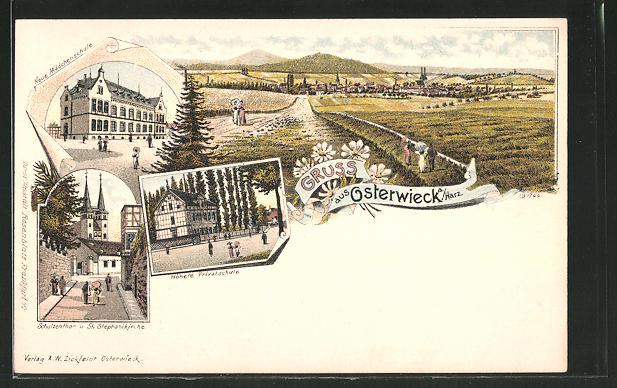 Lithographie Osterwieck, Höhere Privatschule, Neue Mädchenschule, Schulzenthor und St. Stephanikirche