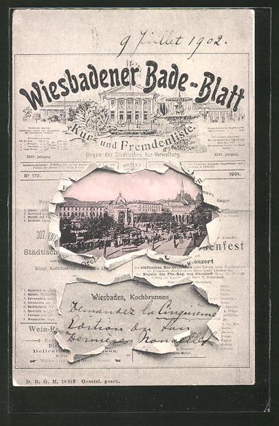 AK Wiesbaden, Wiesbadener Bade-Blatt, Kochbrunnen