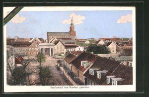 AK Greifswald, Teilansicht mit Kirche von Norden gesehen