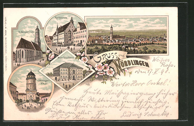Lithographie Nördlingen, Löbsingertor, Neues Schulhaus, St. Georgskirche, Rathaus, Panorama