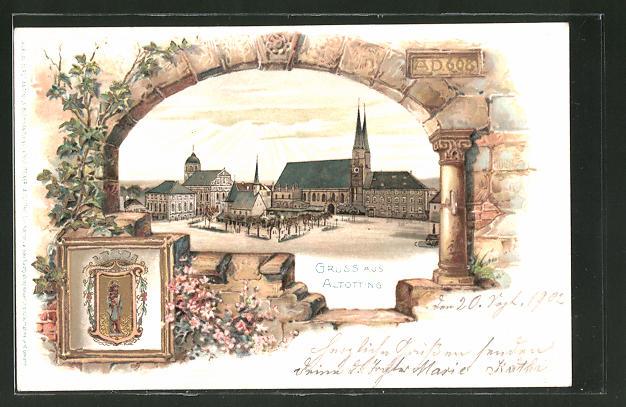 Passepartout-Lithographie Altötting, Ortsansicht mit Kirche, Wappen