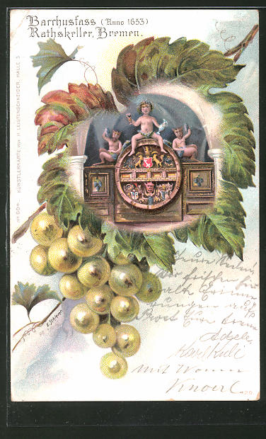 Passepartout-Lithographie Bremen, Eichenblatt mit Barrhusfass im Rathskeller