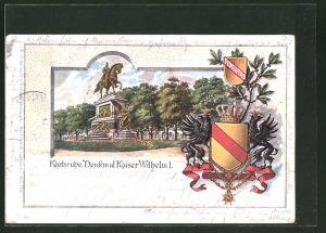 Passepartout-Lithographie Karlsruhe, Wappen, Denkmal Kaiser Wilhelm I.