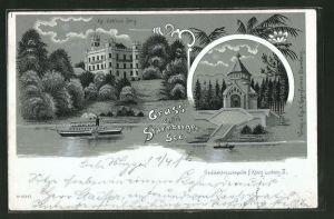 Mondschein-Lithographie Starnberg, Uferpartie des Starnberger Sees mit Kg. Schloss Berg, mit Silber