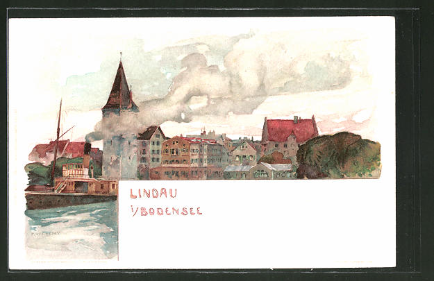 Künstler-AK Fritz Voellmy: Lindau, Panoramablick mit Dampfer