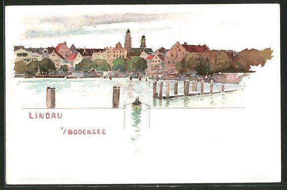 Künstler-AK Fritz Voellmy: Lindau, Stadtblick vom Bodensee aus
