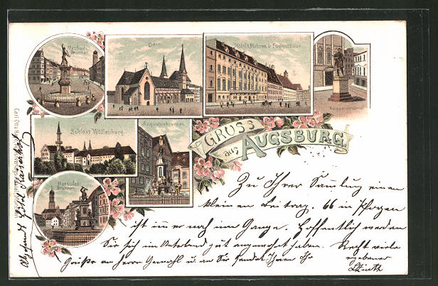 Lithographie Augsburg, Hotel 3 Mohren, Fuggerhaus, Schloss Wöllenburg & Merkur-Brunnen