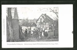 AK Dorperhof, Zerstörung durch den Wirbelsturm am 14. Aug. 1906