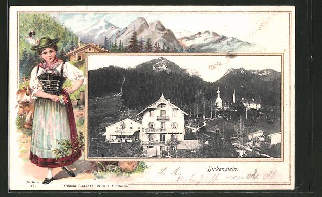 Passepartout-Lithographie Birkenstein, Ortsansicht, Frau in Tracht