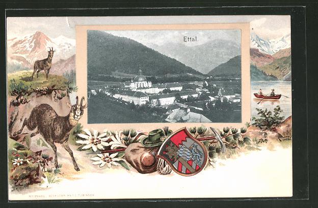 Passepartout-Lithographie Ettal, Totalansicht, Wappen