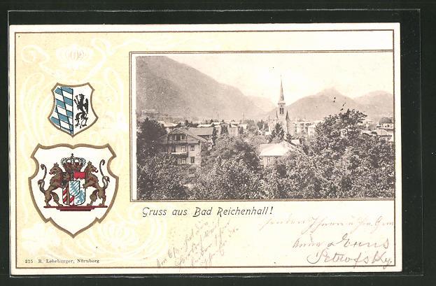 Passepartout-Lithographie Bad Reichenhall, Ortsansicht, Wappen