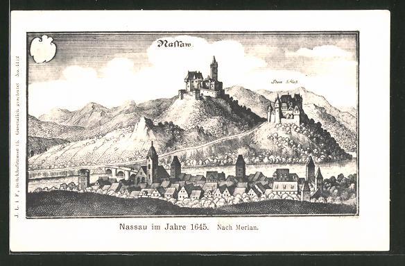 Künstler-AK Nassau, Ortsansicht im Jahre 1645, nach Merian