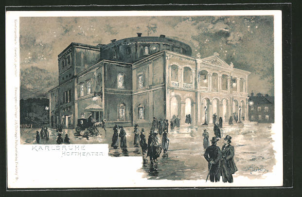 Künstler-Lithographie Carl Münch: Karlsruhe, Partie am Hoftheater