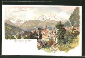 Künstler-AK Otto Strützel: Berchtesgaden, Ortspartie im Gebirge