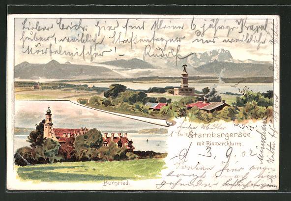 Künstler-AK Otto Strützel: Bernried, Starnbergersee mit Bismarckturm