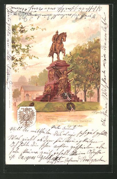 Künstler-Lithographie Carl Münch: Karlsruhe, Kaiser Wilhelm Denkmal