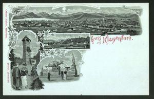 Mondschein-Lithographie Klagenfurt, Aussichtsthurm, Kreuzberg, Lindwurmbrunnen