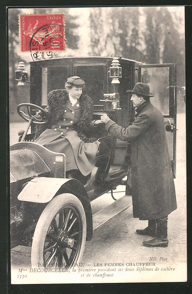 AK Paris Nouveau, Les Femmes Chauffeur, Mann bezahlt eine Chauffeuse, Emanzipation
