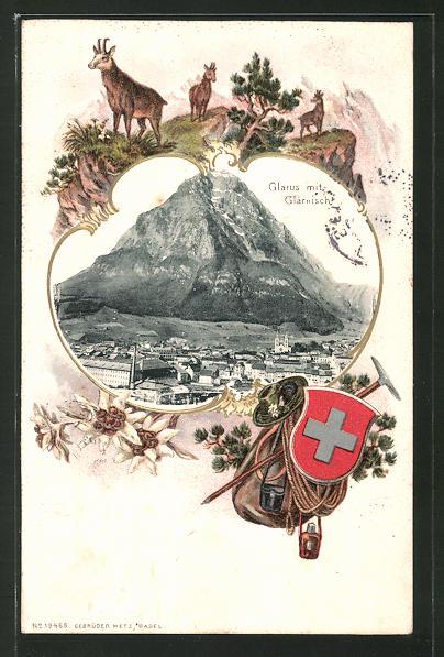 Passepartout-Lithographie Glarus, Ortsansicht mit Blick zum Glärnisch, Passepartout mit Gemsen
