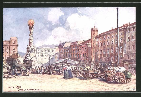 Künstler-AK Fritz Lach: Linz, Partie am Hauptplatz mit Denkmal