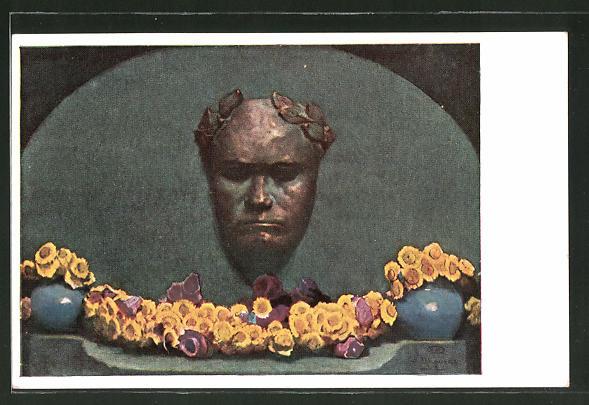 Künstler-AK Albert Stagura: Büste von Ludwig van Beethoven mit Kranz