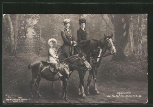 AK Kronprinz Wilhelm von Preussen beim Spazierritt mit Familie