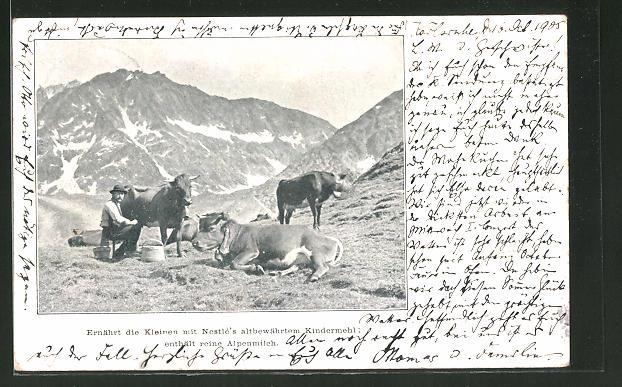 AK Werbekarte für Nestlé's altbewährtes Kindermehl mit Kühen in den Alpen