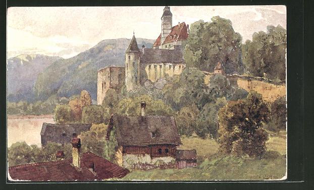 Künstler-AK Fritz Lach: Schönbühel, Nibelungenweg, Blick zur Burg mit Umgebung