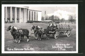 AK Berlin, Reit- und Fahrturnier 1936, Viererzug der Schultheiss Brauerei