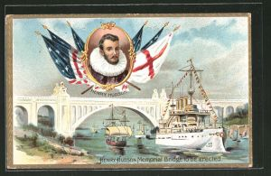 Präge-Lithographie Portrait Hendry Hudson, Henry Hudson Memorial Bridge to be erected