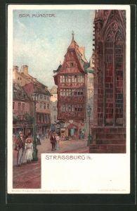 Künstler-Lithographie sign. A. Erdmann: Strassburg, Beim Münster