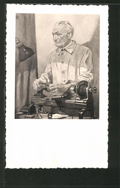 Künstler-AK Fabrikarbeiter arbeitet an seiner Maschine