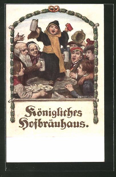 Künstler-AK Ludwig von Zumbusch: München, Gasthof Königliches Hofbräuhaus, Münchner Kindl beim Feiern
