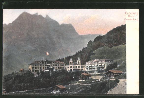 AK Engelberg, Hotel Sonnenberg gegen das Gebirge