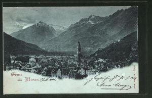 Mondschein-AK Meran, Blick auf die Stadt und ins Tal