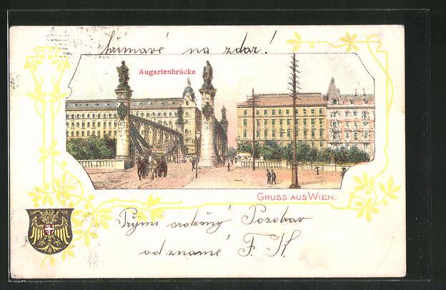 Lithographie Wien, Partie an der Augartenbrücke