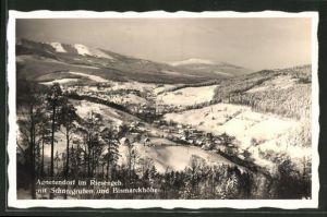AK Agnetendorf, Totalansicht im Winter mit Schneegruben & Bismarckhöhe