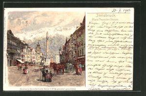 Künstler-AK Otto Strützel: Innsbruck, Partie der Maria Theresien-Strasse