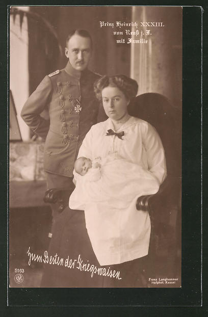 AK Prinz Heinrich XXXIII. von Reuss mit seiner Familie