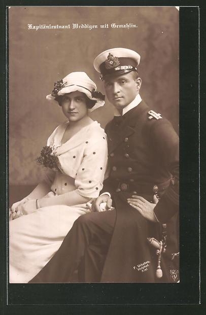 AK U-Boot-Kapitänleutnant Weddigen mit seiner Gemahlin
