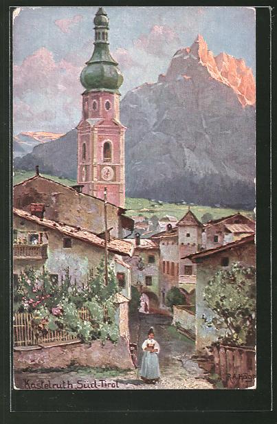 Künstler-AK Rudolf Alfred Höger: Kastelruth, Ortspartie