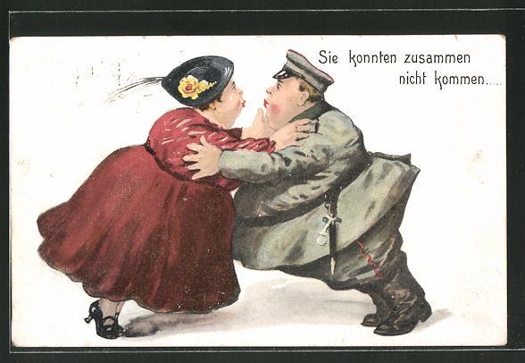 AK Übergewichtiges Pärchen versucht sich zu küssen