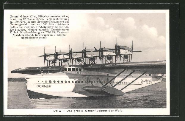 AK Dornier Do X Wasserflugzeug auf einem See