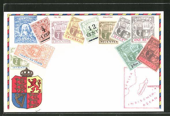 AK Briefmarken von Mauritius, Wappen, Landkarte