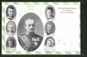AK König Friedrich August von Sachsen und seine Kinder Prinz Christian, Kronprinz Georg und Prinzessin Maria Alix