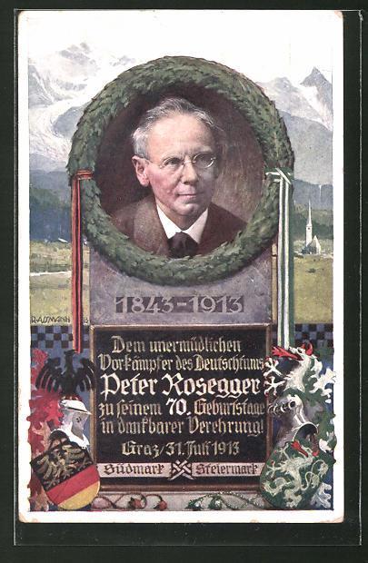 Künstler-AK Richard Assmann: Porträt Peter Rosegger