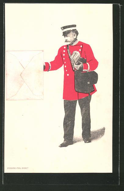 AK Postbote bringt einen aufgeklebten Brief