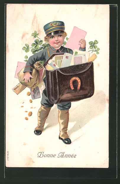Präge-AK Kleiner Postbote bringt Briefe und Geld