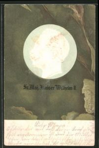 Präge-AK Porträt Kaiser Wilhelm II. im Profil